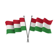 Hungary flags crossed isolated on a white background. 3D Rendering