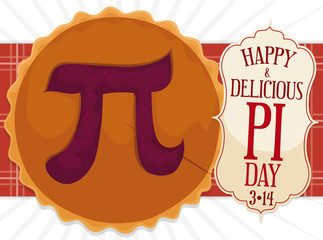 Delicious Pie with Label for Pi Day Celebration, Vector Illustration
