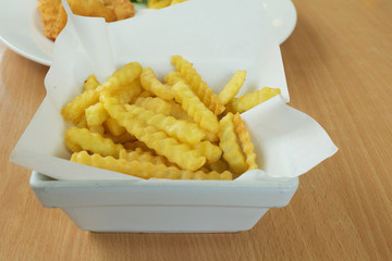 French fries in white plate