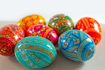 Hand painted Easter eggs background. Traditional Czech easter eggs.