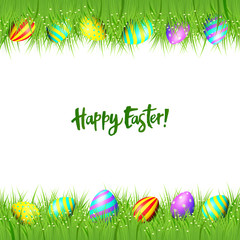 Happy Easter background. Vector frame of eggs and green grass isolated on white