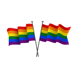 Gay pride flags crossed isolated on a white background. 3D Rendering