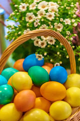 Easter eggs in a basket on blurred background.