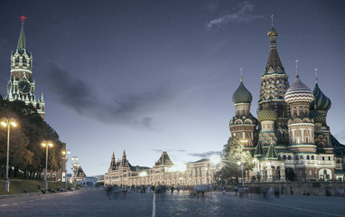 Red Square in Moscow at night, Russia