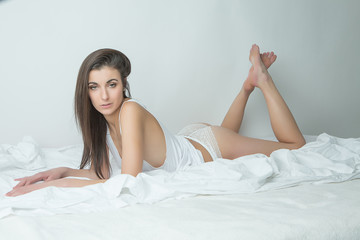 attractive beauty girl with cute ass in bed