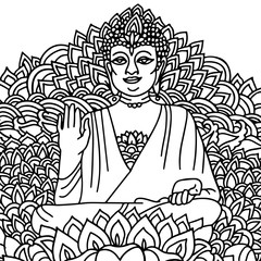 Sitting Buddha in a lotus flower. Mandala style print. Vector illustration.