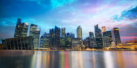 Wall Mural - Singapore skyline of the financial district by night