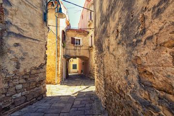 Wall Mural - street scene in Buje, Croatia.