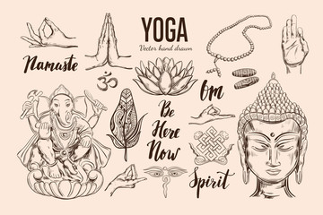 Yoga set. Vector Isolated hand drawn objects. Spiritual Symbols of Buddhism, Hinduism. Tattoo design , yoga logo, boho print, poster. Inspirational calligraphy, lettering