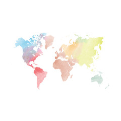 Watercolor map of World. Colorful vector illustration.