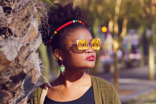 African Zulu Woman Wearing Headband with Natural Hair