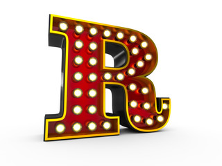 High quality 3D illustration of the letter R in Broadway style with light bulbs illuminating it over white background