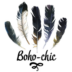 Illustration with different sketch feathers. Boho style. Hand drawn watercolor set of feathers on white background. Hippie design elements.