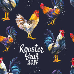 Seamless pattern with domestic bird in different poses. Sketch style. Realistic watercolor illustration of multicolor rooster on black background. 2017 Chinese New Year of the Cock.