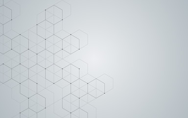Illustration, hexagonal background. Digital geometric abstraction with lines and dots. Geometric...