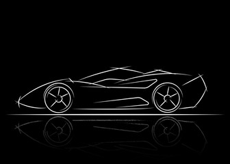 stylized car design , vector illustration black and white