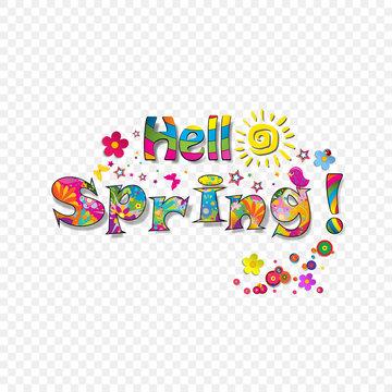 Hello spring vibrant lettering on transparent background