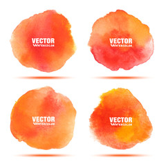 Set of red - orange honey watercolor vector circle stains isolated on white background with realistic paper watercolor texture. Aquarelle vibrant spost. Blur wash drawing design elements. Vector