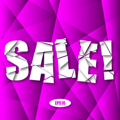 Sale Cut Paper Poster on purple Background. Vector illustration.