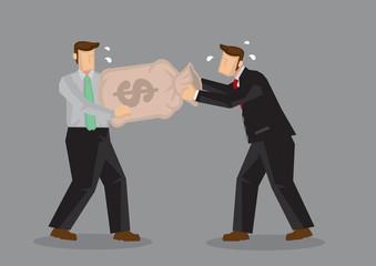 Fighting For Money Cartoon Vector Illustration