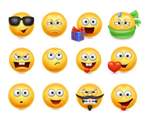 Smileys vector set. Smiley faces with facial expressions. Happy, evil, confused