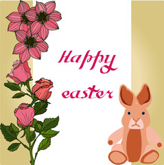 Easter vector illustration with eggs, rose  flowers and bunnies. Excellent for the design of postcards, posters, stickers and so on.