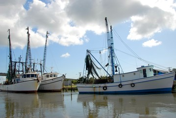 Commercial shrimp boat netters docked