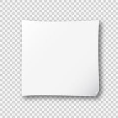 White post note paper sheet sticker. Vector post office memo or remember notepaper sticky with shadow isolated on a transparent background