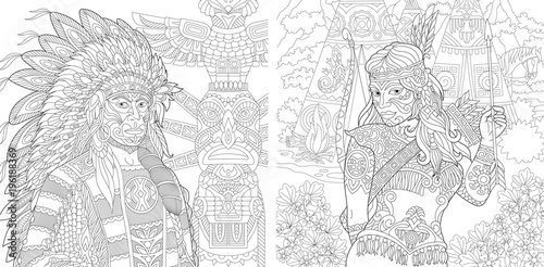 Coloring Page. Adult Coloring Book. Native American Indian Chief and ...