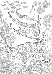 Coloring page for adult colouring book. Underwater background with stingray shoal, tropical fishes and ocean plants. Antistress freehand sketch drawing with doodle and zentangle elements.