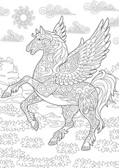Coloring page for adult colouring book. Pegasus - Greek mythological winged horse flying. Antistress freehand sketch drawing with doodle and zentangle elements.