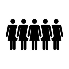 People Icon Vector Group of Women Team Symbol for Business Info-graphic Design in Glyph Pictogram illustration