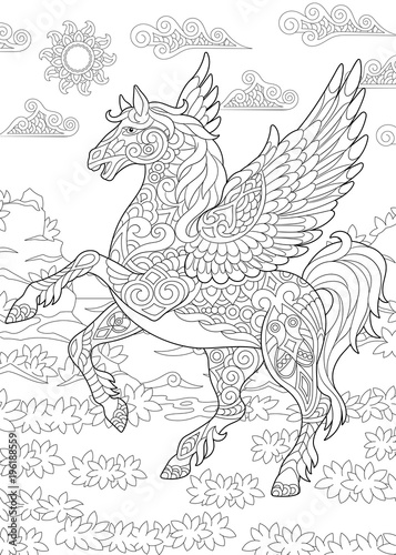 Coloring Page For Adult Colouring Book Pegasus Greek Mythological