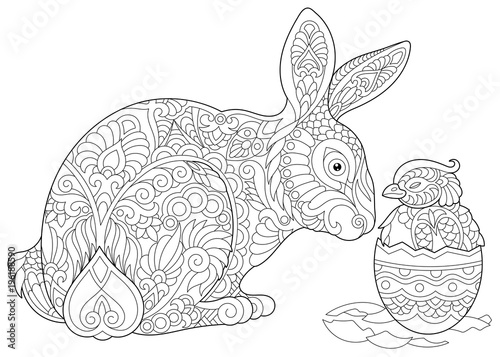 Easter Bunny and newborn Baby Chicken in Easter egg. Coloring Page ...