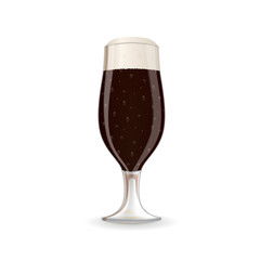 A glass of dark beer with foam. Vector image isolated on the white background.