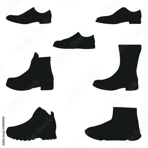 f8a96469cd5b Set of icons of footwear. Vector silhouette of men s shoes. Black on white.