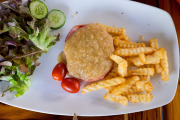 Pork burger and french fries