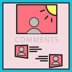Self photo concept illustration comments on the photo posting in social networks.