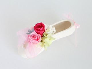 Preserved flower with ballet shoes for wedding