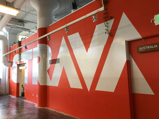 The logo of Strava Inc covers a wall at the fitness app company's headquarters in San Francisco