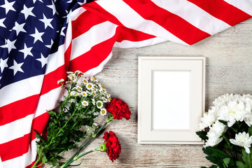 USA flag on wood background