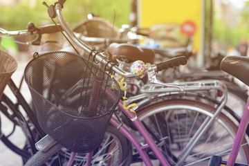 Retro bikes parked on the street in Stockholm. Toned