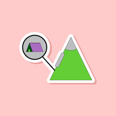 paper sticker on stylish background tent tourists snow avalanche
