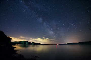 The Milky Way Galaxy rising above the river