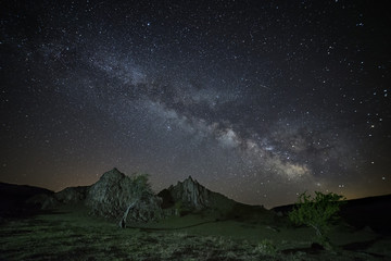 Milky Way galaxy rising above mountains