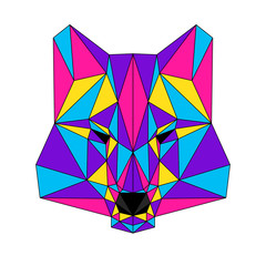 Abstract polygonal wolf portrait. Modern low poly wolf head isolated on white for card, veterinarian clinic placard, modern party invitation, book, poster, bag print, t shirt etc.