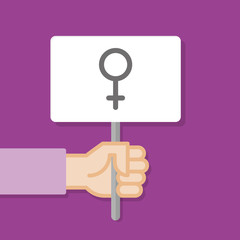 Hand holding white board. Banner with minimal icon. Women rights. Concept of protest. Vector illustration, flat style.