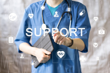 Wall Mural - Doctor pushing button support service virtual healthcare in network medicine health