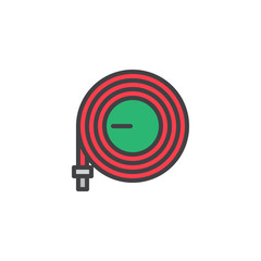 Watering hose filled outline icon, line vector sign, linear colorful pictogram isolated on white. Hosepipe symbol, logo illustration. Pixel perfect vector graphics