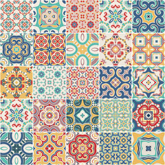 ornate portuguese decorative tiles azulejos. Vector.